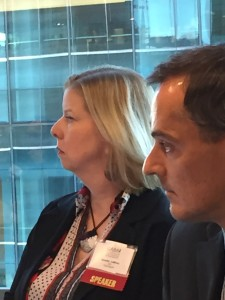 Jenn LeBlanc and Robert Forsyth speaking on a panel at DLA Piper in San Francisco