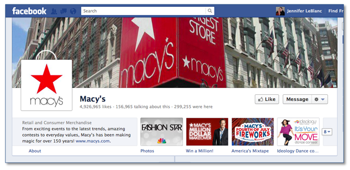 "See the ""Win a Million"" call to action (custom image and text on an app) on the Macy's page."